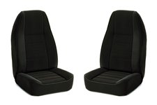 Seat Cover Kit, Front, Fabric, Black : 91-95 Jeep Wrangler YJ
