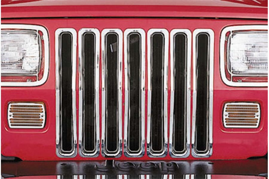 Grille Inserts, Chrome : 87-95 Jeep Wrangler YJ