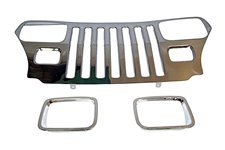 Grille Overlay and Bezet Kit, stainless steel : 87-95 Jeep Wrangler YJ