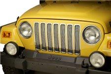 Billet Grille Inserts, Chrome, 97-06 Jeep Wrangler TJ