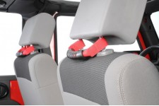 Front Headrest Grab Handles, Red : 07-17 Jeep Wrangler JK