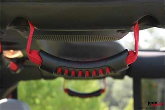 Rear Side Grab Handles, Red : 07-17 Jeep Wrangler JKU