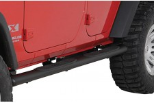 Tube Side Step Kit, Oval, 4.25 Inch, Black : 07-18 Wrangler JKU, 4 Door