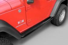 Tube Side Step Kit, Round, 3 Inch, Black : 07-18 Jeep Wrangler, 2 Door