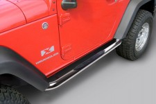 Tube Side Step Kit, Round, 3 Inch, Stainless : 07-18 Wrangler, 2 Door