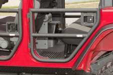 Tube Doors, Rear, Textured Black : 07-18 Jeep Wrangler JKU