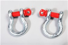 D-Ring Shackles, 3/4-Inch, Silver with Red pin, Steel, Pair