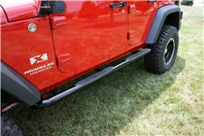 Tube Side Step Kit, Round, 3 Inch, Black : 07-18 Jeep Wrangler, 4 Door