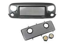 Spartan Grille Mesh Insert Kit w/ Rd LED Driving Lights, 07-17 Jeep JK