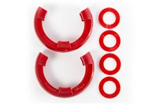 This pair of red D-ring isolators from Rugged Ridge fits 3/4-inch rings and includes 2 rubber isolators and 4 washers.