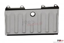 Grill protection mesh, with hood lock hole, black : 07-17 Jeep Wrangler JK