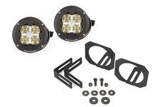 LED Light & Mount Kit, Dual Round : 07-17 Jeep Wrangler JK