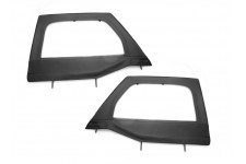 Upper Soft Door Kit, Front, Black Diamond : 07-17 Jeep Wrangler JK