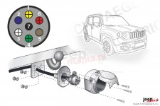 Electric harnesses for towing hook, dedicated, 7-PIN : Jeep Renegade BU