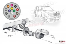 Electric harnesses for towing hook, dedicated, 13-PIN : Jeep Renegade BU