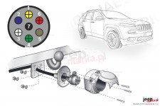 Electric harnesses for towing hook, dedicated, 7-PIN : Jeep Cherokee KL