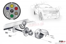 Electric harnesses for towing hook, dedicated, 7-PIN : Jeep 2013+ Grand Cherokee WK2