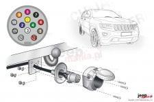 Electric harnesses for towing hook, dedicated, 13-PIN : Jeep 2013+ Grand Cherokee WK2