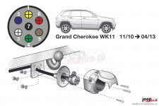 Electric harnesses for towing hook, dedicated, 7-PIN : Jeep 11-13 Grand Cherokee WK2
