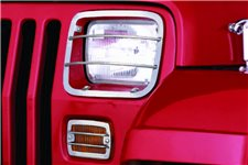 Euro Guard Kit, Headlight/Turn Signal, Stainless Steel : 87-95 Wrangler