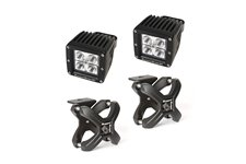 X-Clamp and Square LED Light Kit, Large, Textured Black, 2 Pieces