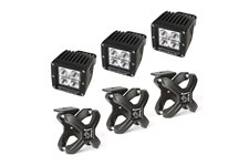 X-Clamp and Square LED Light Kit, Large, Textured Black, 3 Pieces