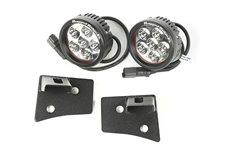 Windshield Bracket LED Kit, Textured Black, Round : 07-17 Wrangler JK