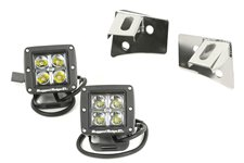 Windshield Bracket LED Kit, Stainless Steel, Square : 07-17 Wrangler JK