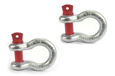 D-Ring Shackles, 5/8-Inch, Silver with Red pin, Steel, Pair