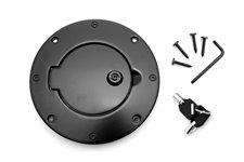 Locking Gas Cap Door, Black Aluminum : 97-06 Jeep Wrangler TJ