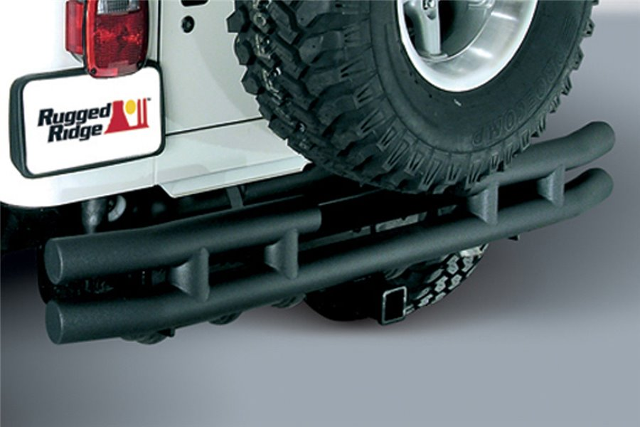 Double Tube Rear Bumper with Hitch, 3 Inch, 87-06 Jeep Wrangler YJ/TJ
