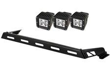Hood Light Bar Kit, 3 Cube LED Lights : 07-17 Jeep Wrangler JK